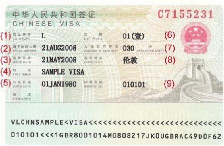 中国ビザサンプル